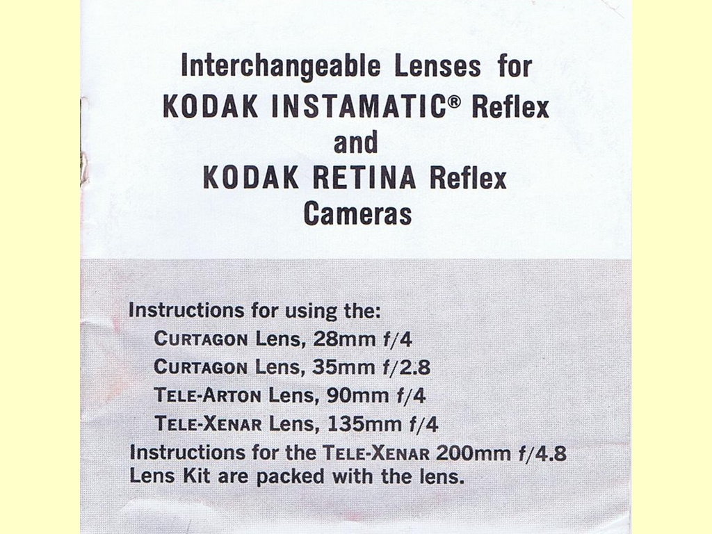Interchangeable Lenses for …  -  Pt. No. 633505 - 8-69-CH-F